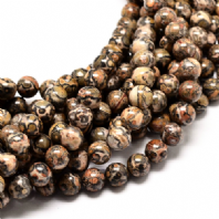16 Inch 8mm Natural Leopardskin Round Beads